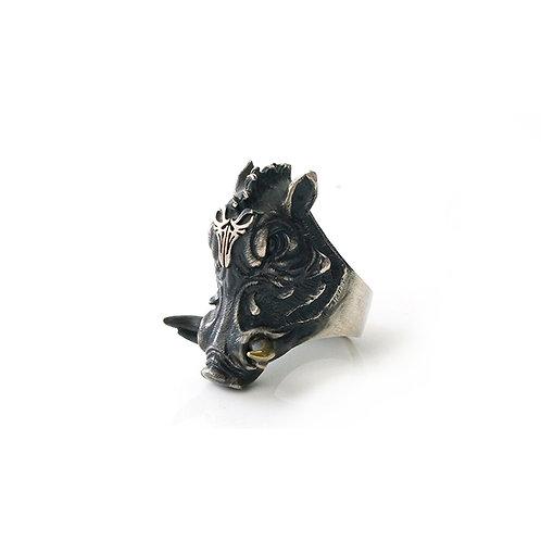 "Original ""Wild Boar Knight"" Man Ring Handmade 925 sterling silver, year of the p"