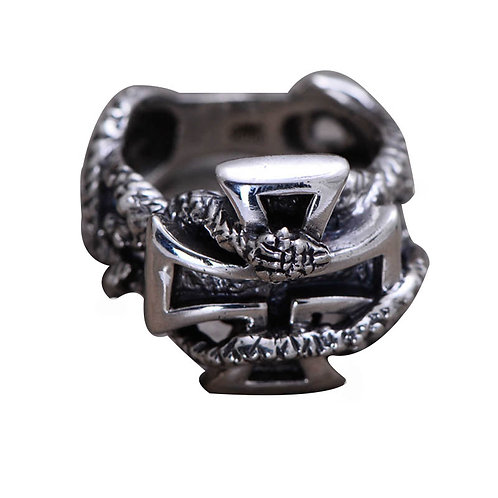925 sterling silver iron cross punk rider ring
