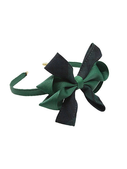 Hair Band with Green and Black Watch Bow