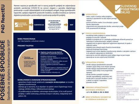 Objavljen razpis: Spodbude za digitalno transformacijo MSP  (P4D ReactEU)