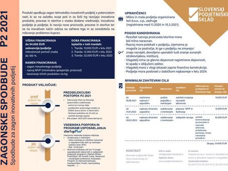 Odprt javni poziv P2 2021 - Spodbude za zagon inovativnih podjetij