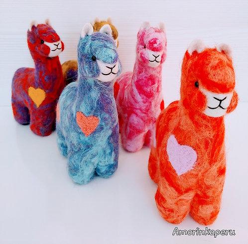 "Sweet Alpaca Heart Felted Alpaca 8"""