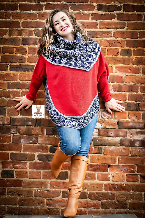 "Alpaca Poncho with sleeves ""Matilde"""