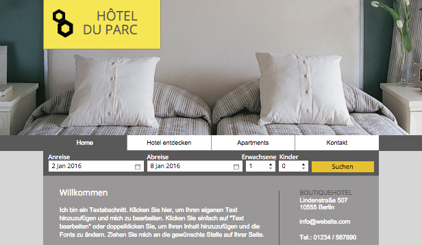 Hotels & Pensionen website templates – Boutique-Hotel