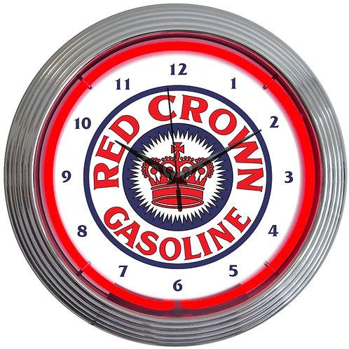 Red Crown Gasoline Neon Clock