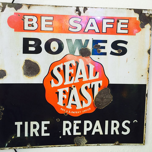 Double Sided Porcelain Bowes Sign 28 x 30""