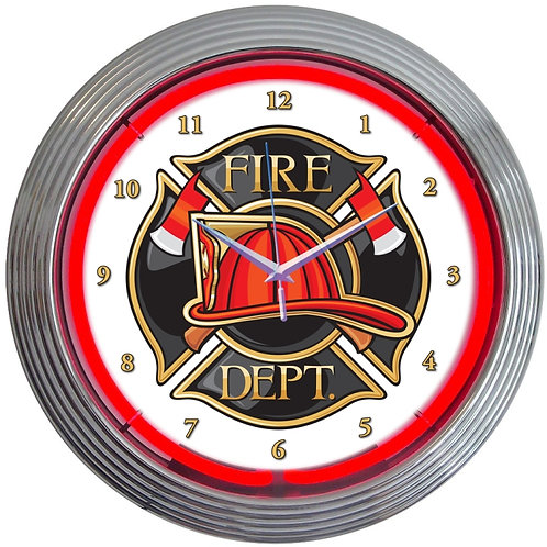 Fire Department Neon Clock