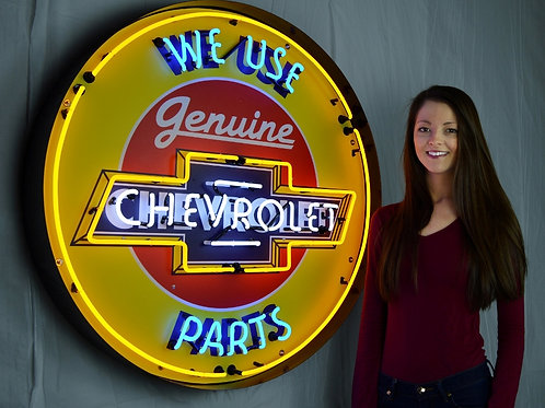 "Super Large 36"" Chevy Genuine Parts Neon Sign!"