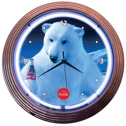 """Coca-Cola Polar Bear Neon Clock 15"""" Diameter"""