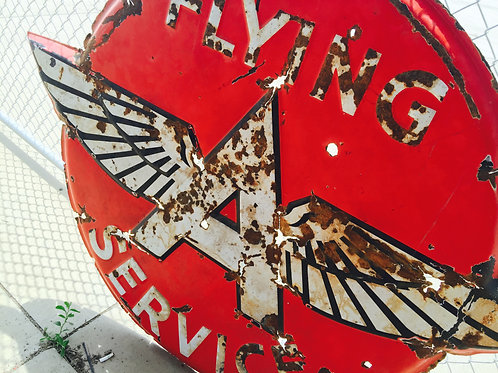 "Porcelain Flying A's Service Sign 48"" X 62"""