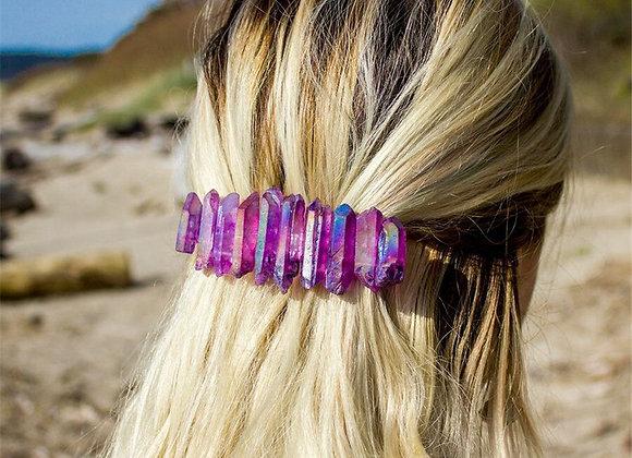 Natural Stone Raw Aura Quartz Crystal French Barrette Hair Clip