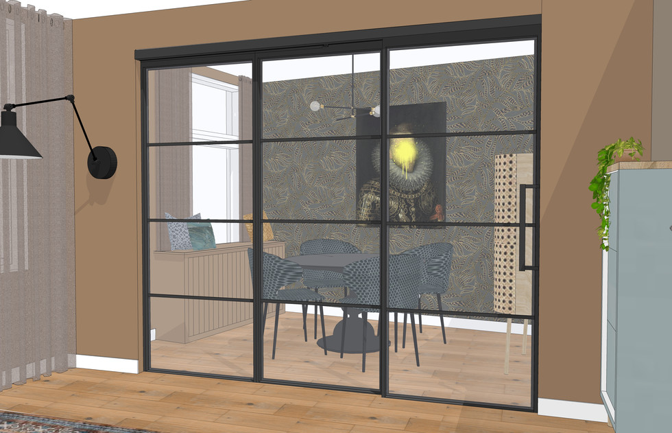 3D interieurplan woonkamer eetkamer