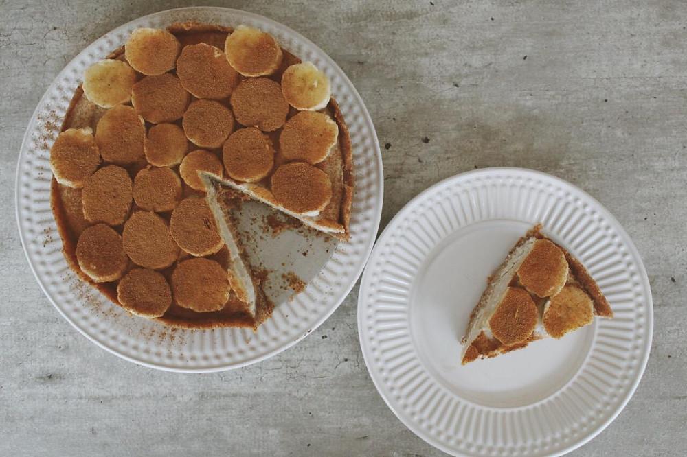 Torta Sorvete de Banana - Sem açúcar, sem lactose e sem glúten - Alternativa crudívora e vegana