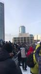 """Protestors chanting """"Aqua Disco"""" and dancing"""