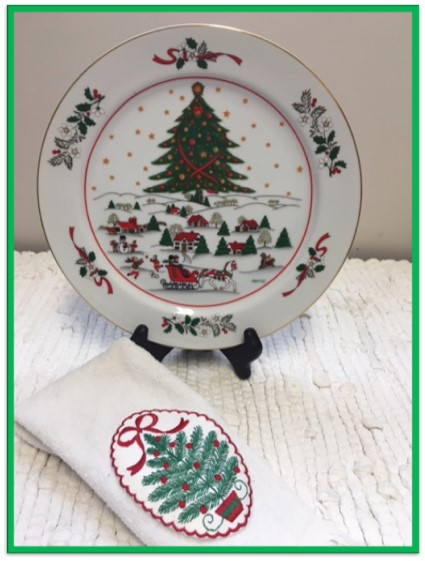 Christmas plate and towel