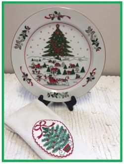 Christmas plate and towel