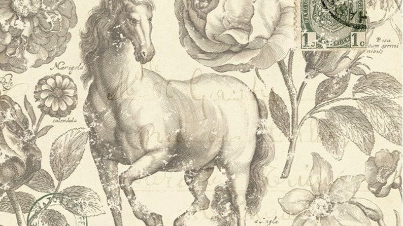 Roycycled Decoupage Paper Botanical Equine