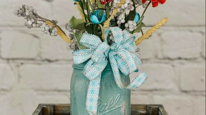 Box & Floral Mason Jar