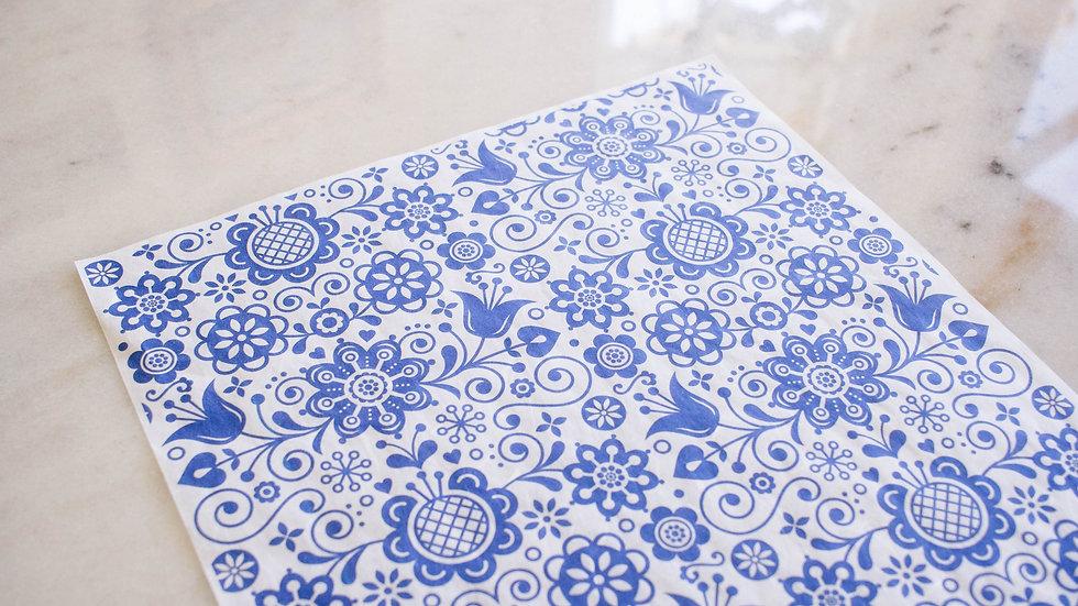 Dixie Belle Blue Glass Ornate Deco Paper