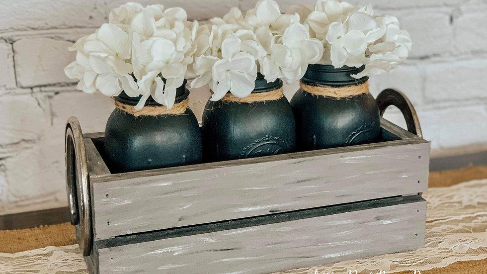 Horseshoe Box with Mason Jars