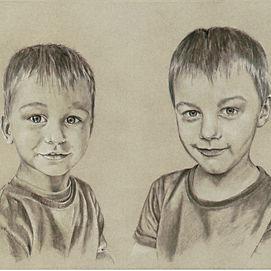 sõprade söe portree joonistus