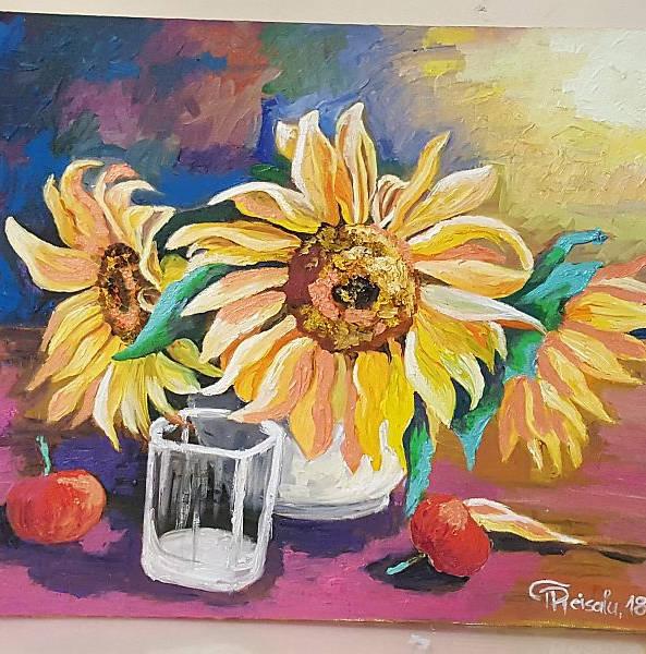 """""""PÄEVALILLED"""" maalitud õlivärvidega papist lõuendile, 60x50cm"""