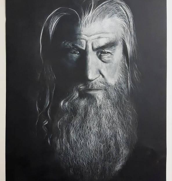 """Gandalf"" pastell 50x65"