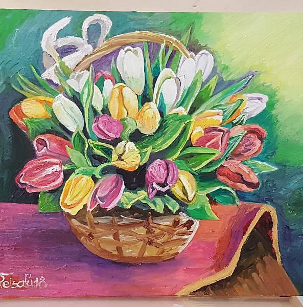 """""""TULBID"""" maalitud õlivärvidega papist lõuendile, 50x60cm"""
