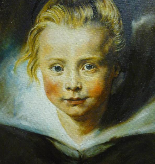 """Repro Peter Paul Rubensi portree Clara Serena Rubensist"" värviline õlimaal, 33x24 cm, 2012"