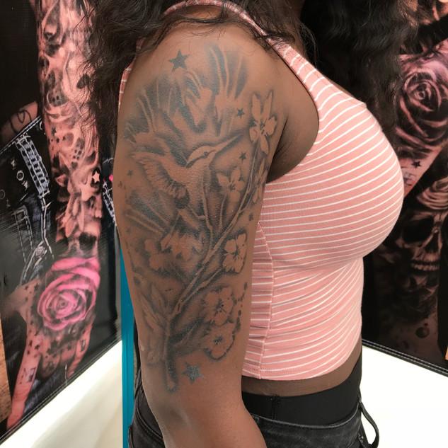 Hummingbird Half Sleeve Tattoo