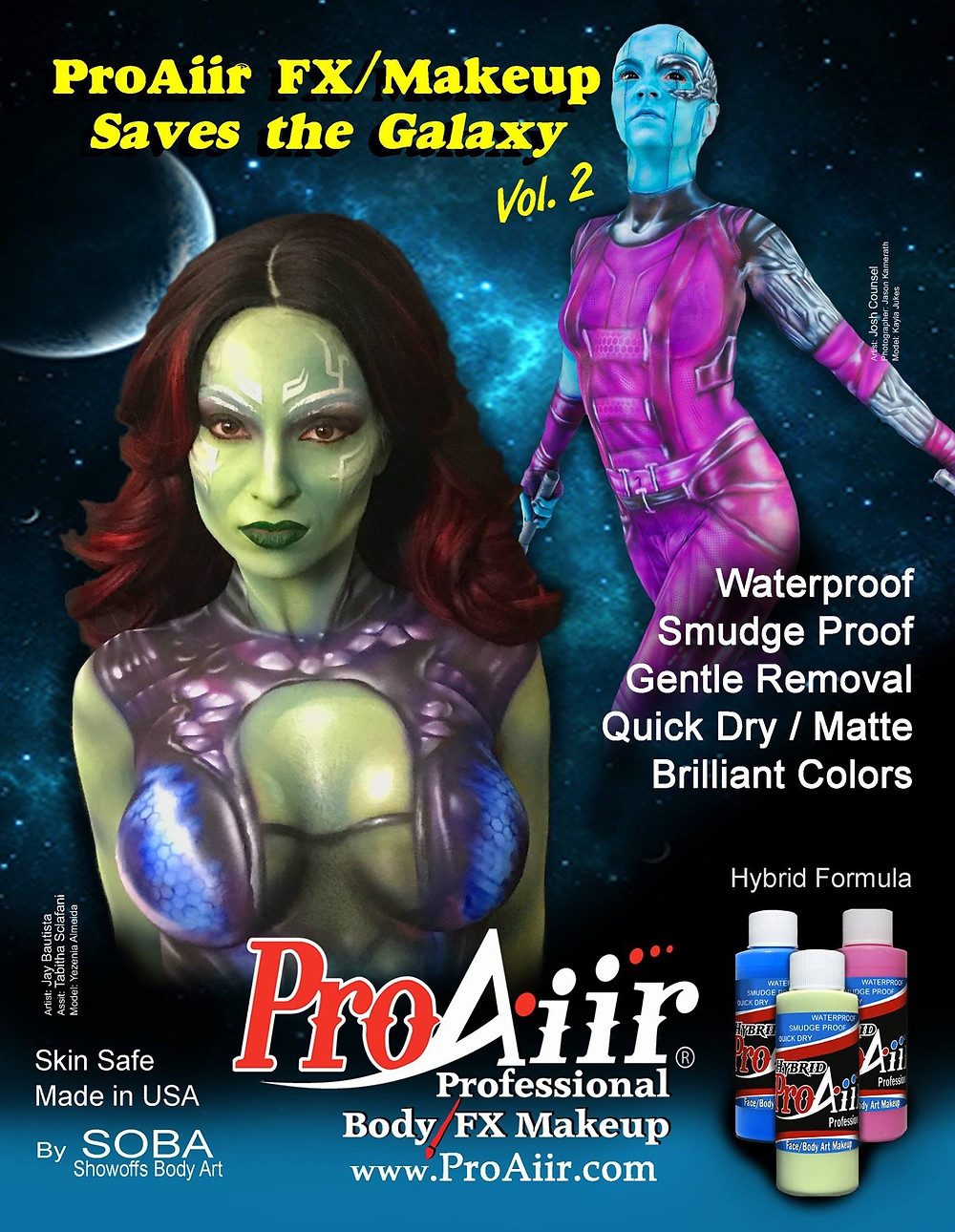 Body Painting of Gamora from Guardians of the Galaxy. Body Painting of Nebula from Guardians of the Galaxy.