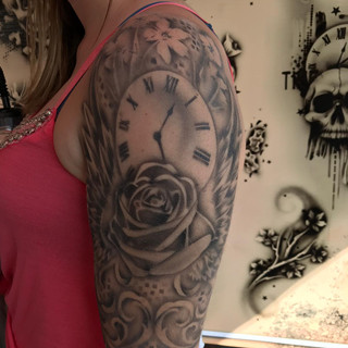 Half Sleeve with Rose and Time