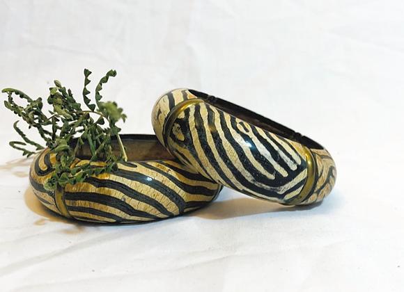 Vintage Brass and Wood Zebra Print Bangle