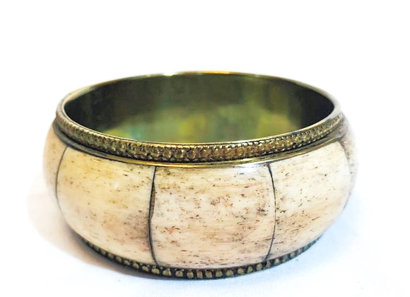 Vintage Brass and Bone Inlaid Tribal Bangle