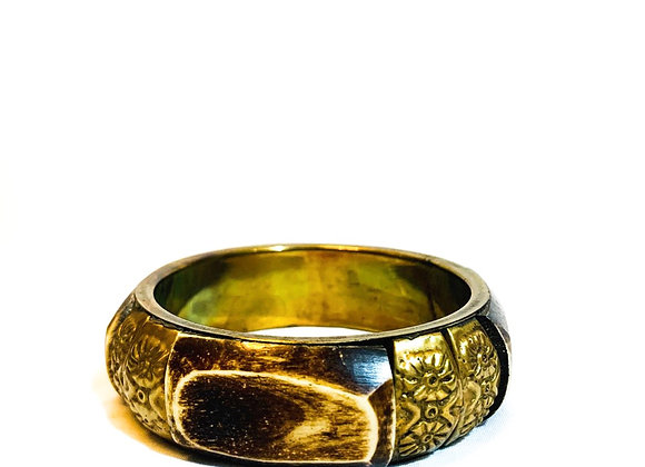 Vintage Bone and patterned inlayed Brass Bangle