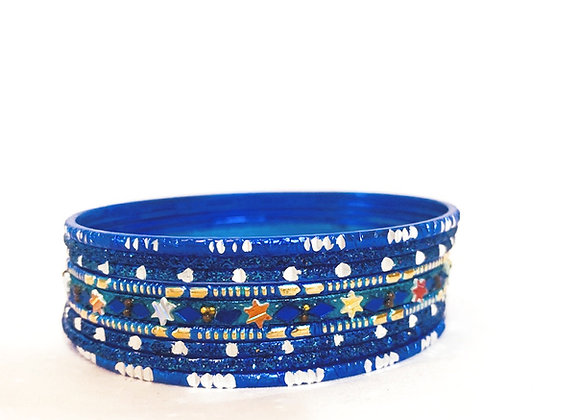 Blue bangle Set with Coloured Stars and Silver Sections Aluminium