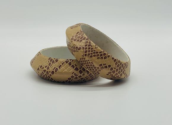 Vintage Handmade Snake Print Bangle