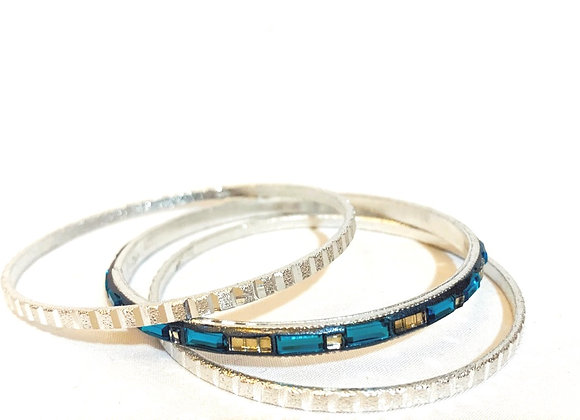 Blue and Silver Aluminium Bangle Set, pressed Aluminium, Authentic