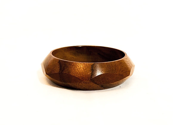 Geometric Carved Wood Bangle, Authentic Indian, Dark wood