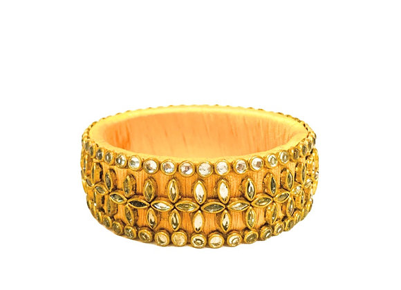 Bejewelled Yellow Indian cloth bangle, Authentic, Handmade, Jewels