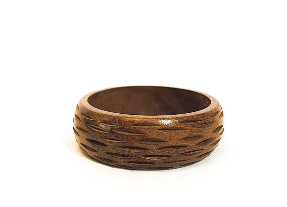 Broad wooden bangle with simple engravings, Authentic Indian, Patterned, Carved