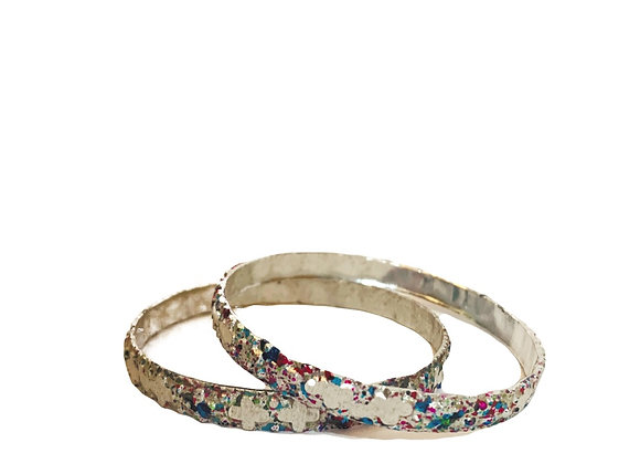 Aluminium Silver Bangle with Colourful Paint pattern, Pressed Shapes