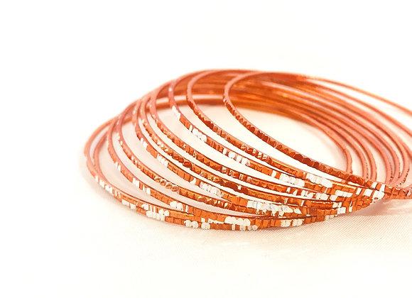Deep Orange and Silver Classic Elegant bangles set Aluminium