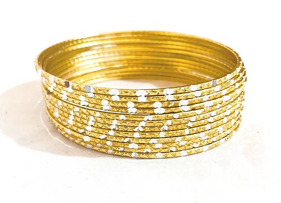 Gold Aluminium Simple Classic Bangle Set