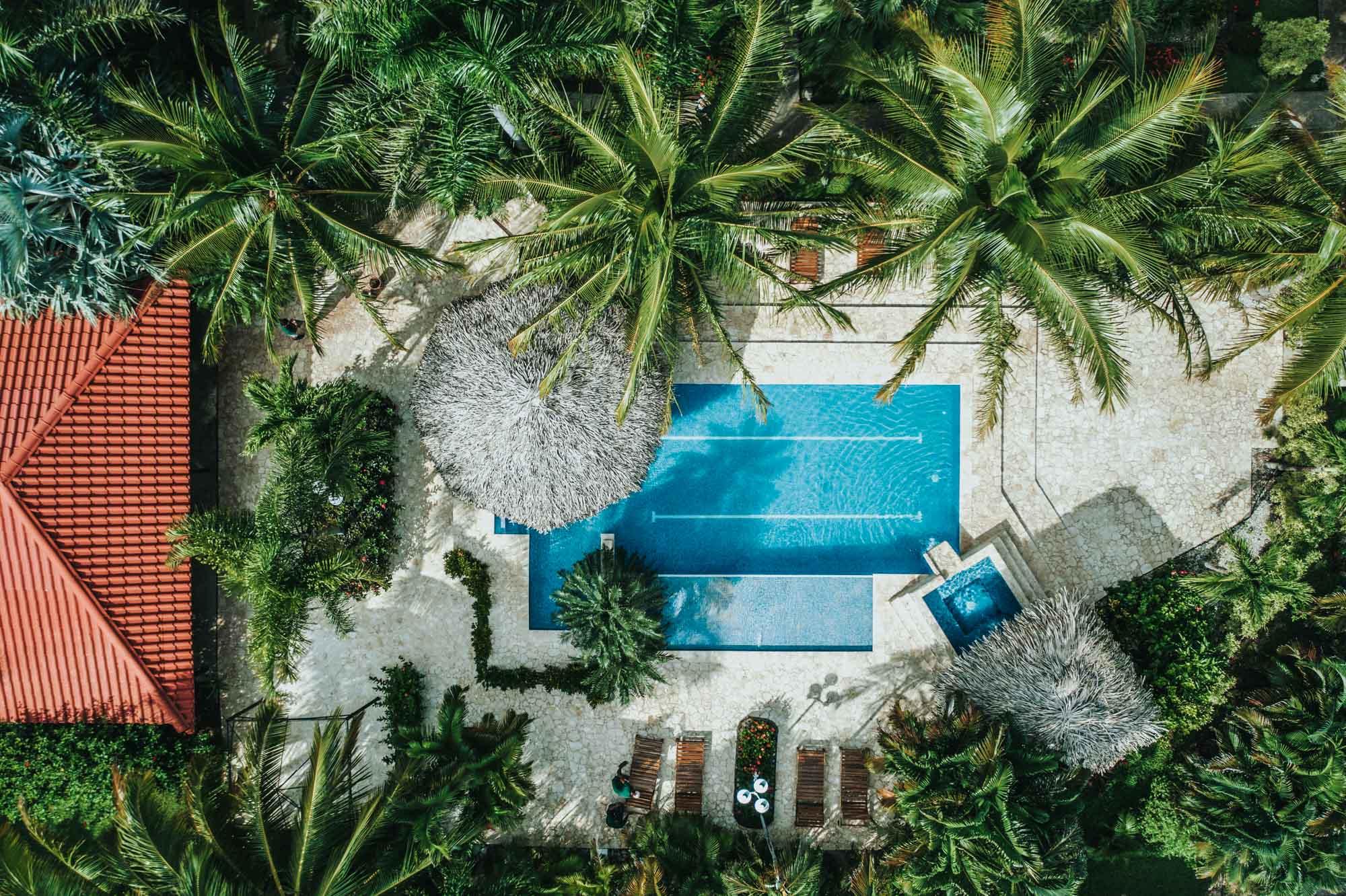Drift Away Eco Lodge aerial pool-0037