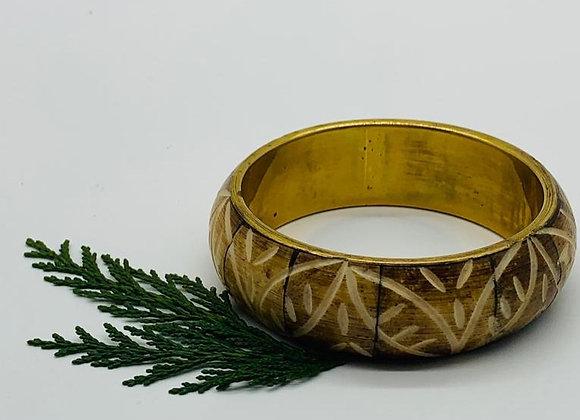 Brass and Bone Floral designed patterned Vintage Handmade bangle