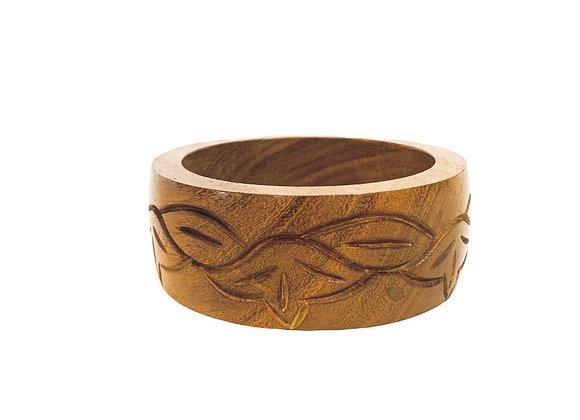 Chunky wooden engraved bangle
