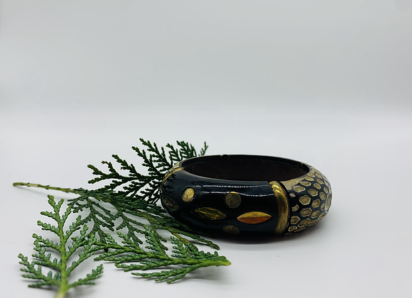Handmade Vintage Glossy Floral Design with Brass Inlay Bangle