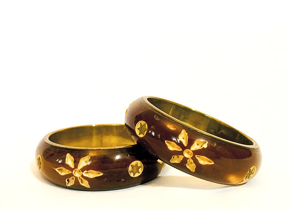 Floral gold-rimmed wooden bangle, brass rimmed,Flower pattern,Glossy