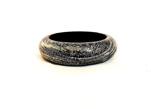 White and Black Wood Bangle, Authentic Indian, Handmade Bracelet, Chunky Bangle